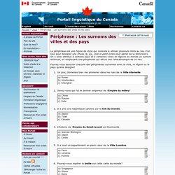Périphrase : Les surnoms des villes et des pays – Jeux – Portail linguistique du Canada
