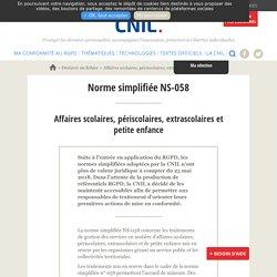 Affaires scolaires, périscolaires, extrascolaires et petite enfance Norme simplifiée NS-058