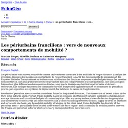 Les périurbains franciliens: vers de nouveaux comportements de mobilité?