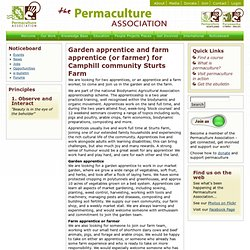 Opportunity | Garden apprentice and farm apprentice (or farmer) for Camphill community Sturts Farm