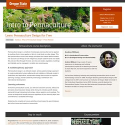 Intro to Permaculture - Free OSU Permaculture Course