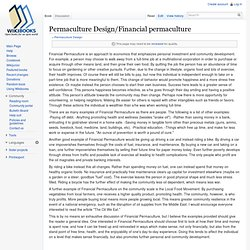 Permaculture Design/Financial permaculture