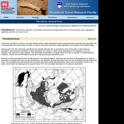 CRREL's Permafrost Tunnel Web Site > Permafrost > General Facts
