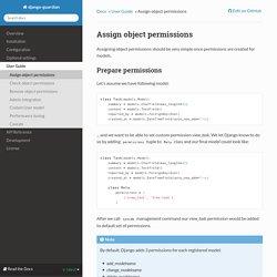 Assign object permissions — django-guardian 1.2.0 documentation