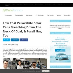 Low Cost Perovskite Solar Cells Breathing Down The Neck Of Fossil Gas