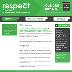 Who we are · Help for domestic violence perpetrators - Respect Phoneline · Respect