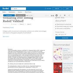Persbericht en verklaring over ontslag Rudolf Valkhoff