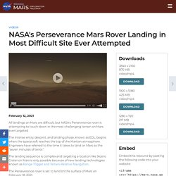 NASA's Perseverance Mars Rover Landing in Most Difficult Site Ever Attempted – NASA's Mars Exploration Program