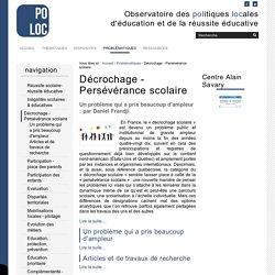 Décrochage - Persévérance scolaire — Observatoire de la Réussite Educative