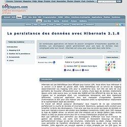 La persistance des données avec Hibernate 2.1.8 - Club d'entraide des développeurs francophones