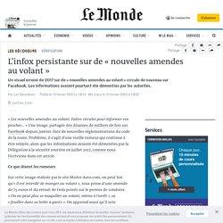 L'infox persistante sur de «nouvelles amendes auvolant»