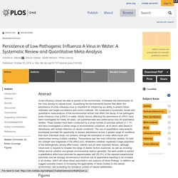 PLOS 13/10/16 Persistence of Low Pathogenic Influenza A Virus in Water: A Systematic Review and Quantitative Meta-Analysis