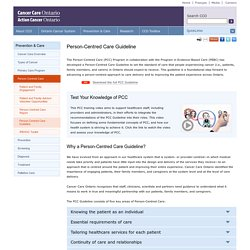 Person-Centred Care Guideline - CCO