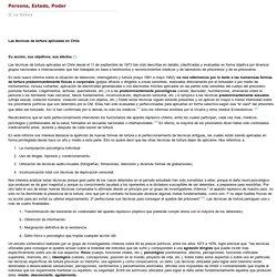 Persona, Estado, Poder - Técnicas de tortura aplicadas en Chile