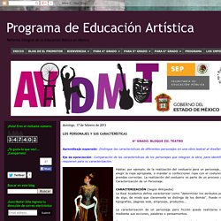 Programa de Educación Artística: LOS PERSONAJES Y SUS CARACTERÍSTICAS