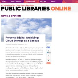 Personal Digital Archiving: Cloud Storage as a Backup