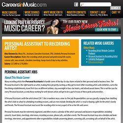 Personal Assistant to Recording Artist Jobs – Career in Music
