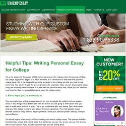 Personal essay help for beginners. Really helpful tips