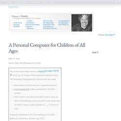 A Personal Computer for Children of All Ages. Alan Kay 1972 @mprove