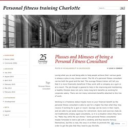Plusses and Minuses of being a Personal Fitness Consultant
