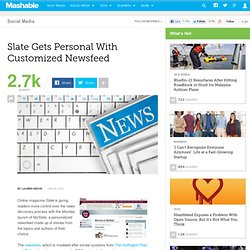 Slate Gets Personal With Customized Newsfeed