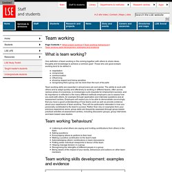 Team working - Personal Development Aide Memoire - Resources - LSE LIFE - Students
