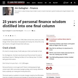 23 years of personal finance wisdom distilled into one final column