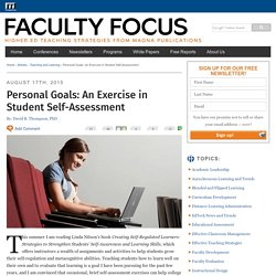 Personal Goals: An Exercise in Student Self-Assessment