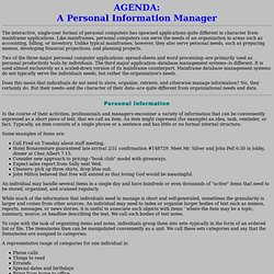 AGENDA: A Personal Information Manager (PIM)