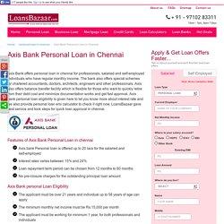 Axis Bank Personal Loan in Chennai