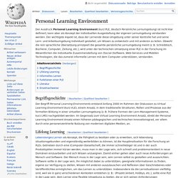 Personal Learning Environment