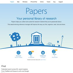 Introducing Papers... Your personal library of science