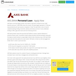 AXIS BANK Personal Loan at Lowest Interest Rates Mar 2017