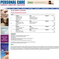 O/W BODY LOTION Personal Care Magazine Formulations