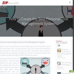 Best Personal Task Management System - Zip Checklist