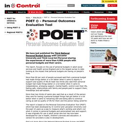 POET © - Personal Outcomes Evaluation Tool - In Control