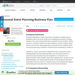 Personal Event Planning Business Plan Sample - Company Summary