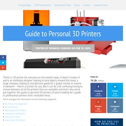 Guide to Personal 3D Printers - Sculpteo Blog
