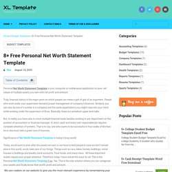 8+ Free Personal Net Worth Statement Template