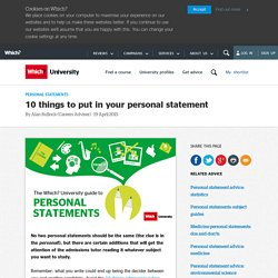 10 things to put in your personal statement
