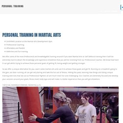 PERSONAL TRAINING – Martial Arts Development