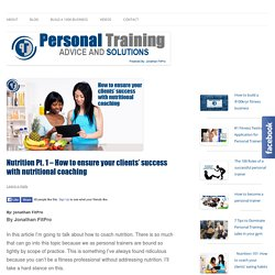 Personal Training Nutrition