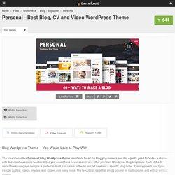 Personal - Best Blog, CV and Video WordPress Theme - WordPress
