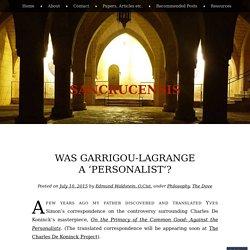 Was Garrigou-Lagrange a 'Personalist'?