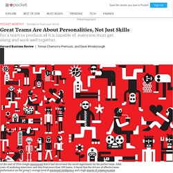 Great Teams Are About Personalities, Not Just Skills - Harvard Business Review - Pocket