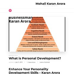 Enhance Your Personality Development Skills - Karan Arora Mohali