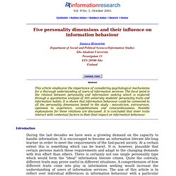 Five personality dimensions and their influence on information behaviour