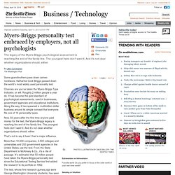 Myers-Briggs personality test embraced by employers, not all psychologists
