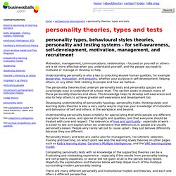 personality styles, types, theories and psychometrics models, personality tests and quizzes theory