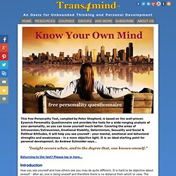 Free In-Depth Personality Test - Know Your Own Mind